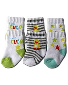 Bumble Bee: Socks - Cute Duck Terry Socks 3 Pairs (0-9 months)