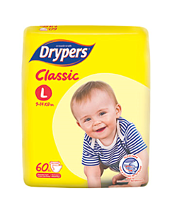 Drypers Classic L60 (9 - 14kg) - Family Pack