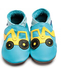 Inch Blue: Soft Sole Leather Shoes - Digger Turquoise - Child Small (2-3 years)