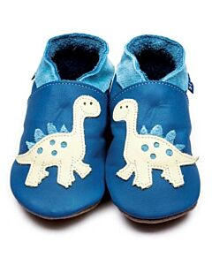 Inch Blue: Soft Sole Leather Shoes - Dino Blue/Buttermilk - Small (0-6 months)