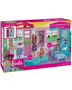 Barbie® Dollhouse   Portable 1-Story Playset with Pool and Accessories (3Y+) - 17% OFF!!