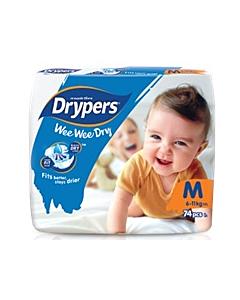 Drypers Wee Wee Dry M74 (6-11kg) - Mega Pack - 25% OFF!