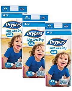 Drypers Wee Wee Dry XXL40 (15-25kg) *3 pack bundle* - Mega Pack - (RM28.60 EACH!) - 28% OFF!!