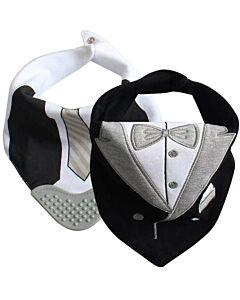 Earth Bebe: 2 Bandana Bib with Teether - Tuxedo