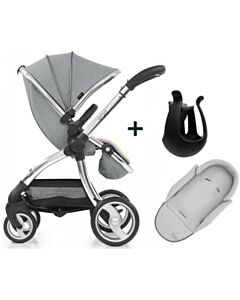 Egg® Stroller: Platinum Grey On Silver Chassis (Special Edition) + (FREE GIFTS worth RM518: Baby Insert + Cup holder)