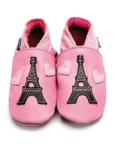 Inch Blue: Soft Sole Leather Shoes - Eiffel Tower Rose Pink - Medium (6-12 months)