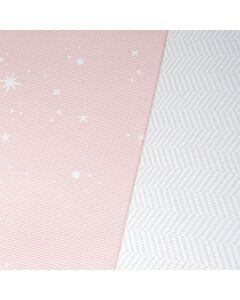 BAMBAM KIDS Family Size Play Mat   Dreamy Blush / Herringbone Gray (200 x 140cm)