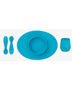 EZPZ First Foods Set | Silicone Spoon, Cup & Suctioning Bowl for Infants (4+ Months) | Blue - 23% OFF!!