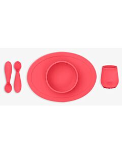 EZPZ First Foods Set | Silicone Spoon, Cup & Suctioning Bowl for Infants (4+ Months) | Coral - 23% OFF!!