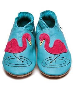 Inch Blue: Soft Sole Leather Shoes - Flamingo Turquoise - Child Small (2-3 years)