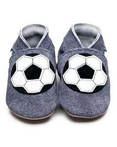 Inch Blue: Soft Sole Leather Shoes - Football Denim - Small (0-6 months)