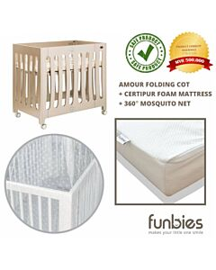 Funbies: Amour Folding Cot Set (comes with mattress & mosquito net) - 15% OFF!!