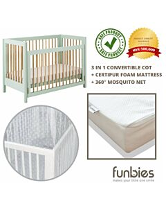 Funbies: Clover Baby Cot Set (Soft Green) (comes with mattress & mosquito net) - 21% OFF!!