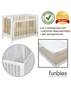 Funbies: Clover Baby Cot Set (White) (comes with mattress & mosquito net) - 21% OFF!!