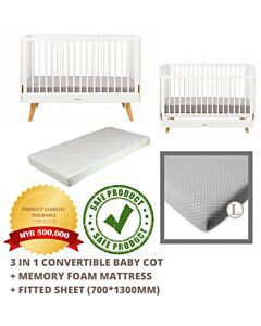 Funbies: Viggo Baby Cot Set (White) (comes with mattress & mosquito net) - 19% OFF!!