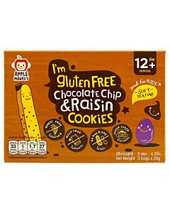 Apple Monkey: Gluten Free Cookies - Chocolate Chip & Raisin (3 bags x 20g) 60g - 7% OFF!!