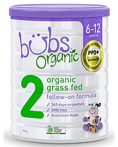 Bubs Organic Grass Fed Follow-On Formula *Stage 2* (6-12 Months) 800gm