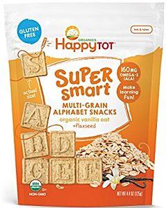 Happy Baby: Happy Tot Super Smart Multi-Grain Alphabet Snacks - Vanilla Oat + Flaxseed, 125g