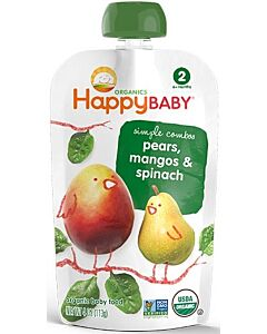 Happy Baby: Pouch - Organic Spinach, Mango & Pear (6+ months) - 10% OFF!!