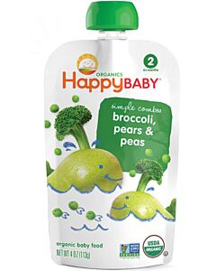 Happy Baby: Pouch - Organic Broccoli, Peas & Pear (6+ months) - 10% OFF!!