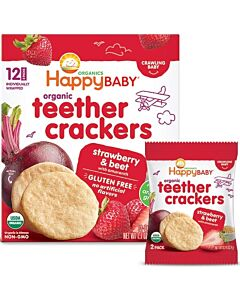 Happy Baby: Organic Teether Crackers - Strawberry & Beet with Amaranth  48g (6 packs)