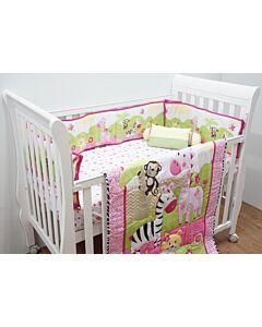 Happy Cot: Bedding Set - Zoo Animals Pink - 10% OFF!!