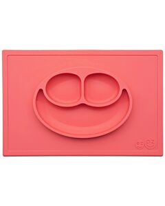 EZPZ Happy Mat | Self-Suctioning Silicone Plate & Placemat (24+ Months) | Coral - 30% OFF!!