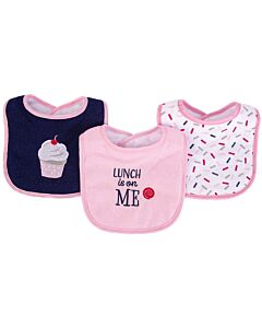 Hudson Baby Drooler Terry Bibs (3 pcs) (Lunch is on me) 56216CH - 20% OFF!!