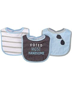 Hudson Baby Drooler Terry Bibs (3 pcs) (Voted Most Handsome) 56215CH - 20% OFF!!