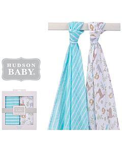 Hudson Baby: Muslin Swaddle Blanket - 2pcs (00924) Blue - 28% OFF!!