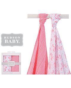 Hudson Baby: Muslin Swaddle Blanket - 2pcs (00927) Pink - 28% OFF!!