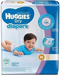 Huggies Dry Diapers M72 (5-10 kg) Super Jumbo pack - 35% OFF!!