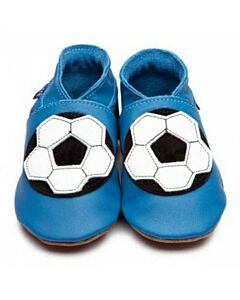 Inch Blue: Soft Sole Leather Shoes - Football Blue - Large (12-18 months)