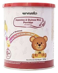 Natufoodies: Organic Japonica & Quinoa Rice Porridge with Prebiotics (6+ Months) 200gm | Banana & Beetroot - 10% OFF!!