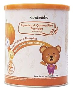 Natufoodies: Organic Japonica & Quinoa Rice Porridge with Prebiotics (6+ Months) 200gm (FREE THERMAL SPOON) | Sweet Potato & Pumpkin - 10% OFF!!