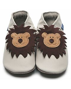 Inch Blue: Soft Sole Leather Shoes - Leo Cream - Large (12-18 months)