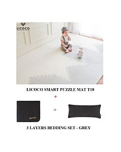 GGUMBI: LICOCO Smart Puzzle Mat T18 (4 Set) + 3 Layers Muslin Bedding Set (Grey) - 25% OFF!!