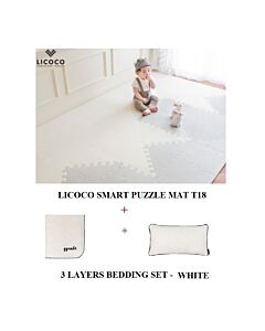 GGUMBI: LICOCO Smart Puzzle Mat T18 (4 Set) + 3 Layers Muslin Bedding Set (White) - 25% OFF!!