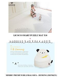 GGUMBI: LICOCO Smart Puzzle Mat T18 (4 Set) + MIMIRU Premium Beanbag Sofa (Monkey - Demong) - 25% OFF!!