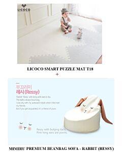 GGUMBI: LICOCO Smart Puzzle Mat T18 (4 Set) + MIMIRU Premium Beanbag Sofa (Rabbit - Ressy) - 25% OFF!!