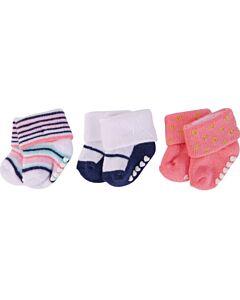 Little Treasure: Newborn Baby Girls' Terry Socks (Non Skid) 3-Pack (0-6mths) (76224S) - 31% OFF!!
