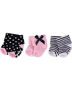 Little Treasure: Newborn Baby Girls' Terry Socks (Non Skid) 3-Pack (0-6mths) (76225S) - 31% OFF!!