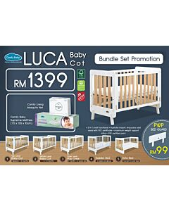Comfy Baby: Luca Baby Cot - Bundle Set (5 In 1 Multi Function - 70 X 130cm) (FREE Supreme Mattress + Mosquito Net)