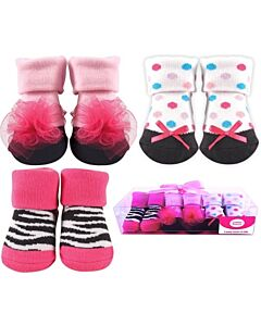 Luvable Friends Gift Set: Girl Baby Socks - 3 Pairs (07172) - 21% OFF!!