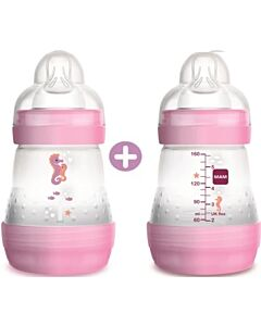 2 x MAM Easy Start Anti-Colic Bottle 160ml/5.5oz - Teat 1 (Pink)