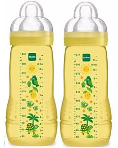 2 x MAM Easy Active Baby Bottle 330ml/11oz - Teat 3 (Yellow)