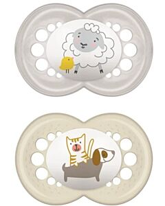 MAM Pacifier - ORIGINAL (16+months) Twin Set - Grey Sheep/ Dog - 10% OFF!!