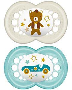 MAM Pacifier - ORIGINAL (16+months) Twin Set - Blue/Ivory Teddy bear Car or Elephant/Ball - 10% OFF!!