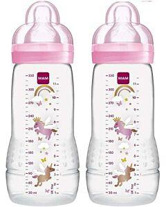 2 x MAM Easy Active Baby Bottle 330ml/11oz - Teat 3 (Pink)