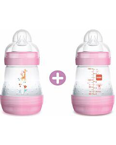 2 x MAM Easy Start Anti-Colic Bottle 160ml/5.5oz - Teat 1 (Pink) - 20% OFF!!